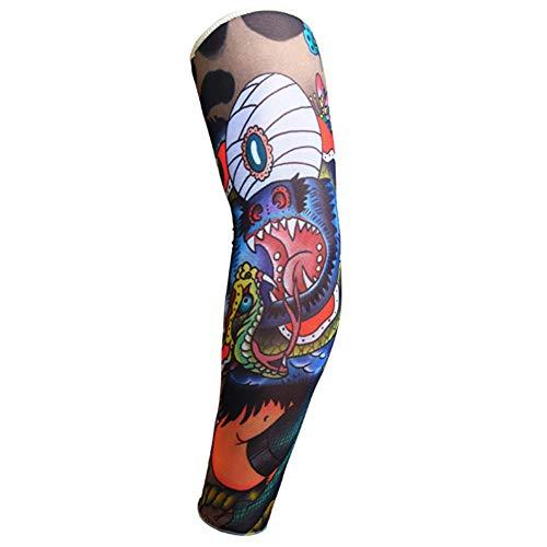 s Rock Fake Tattoo Ärmel Arme / Beine Strümpfe Stretch Temporäres Kleid Kostüm-Kostüm Strumpf, F ()