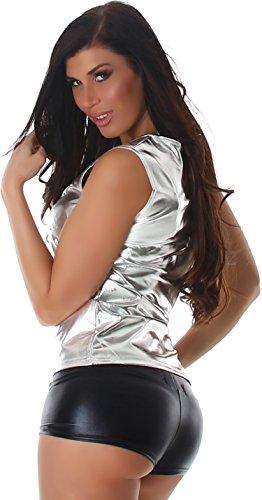 Jela London Damen Wetlook Glossy GoGo Tanktop Top Glanz Metallic Racerback (38 - 44) Silber