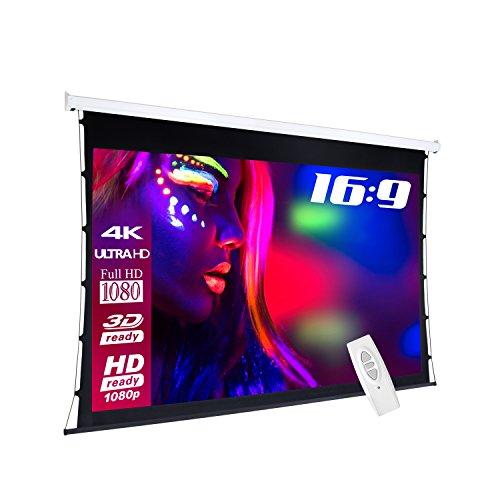 eSmart basics Tension-Leinwand [Größenauswahl] 200 x 113 cm | Format 16:9 | Programmierbare Fernbedienung | Vollmaskierung | Heimkino elektrische Beamer Projektionsleinwand Motor Tension Leinwand LCD LED