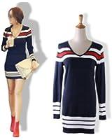 Zehui Women Stripe Long Sweater Dress Slim V-Neck Stretch Knitwear Pullover Jumper