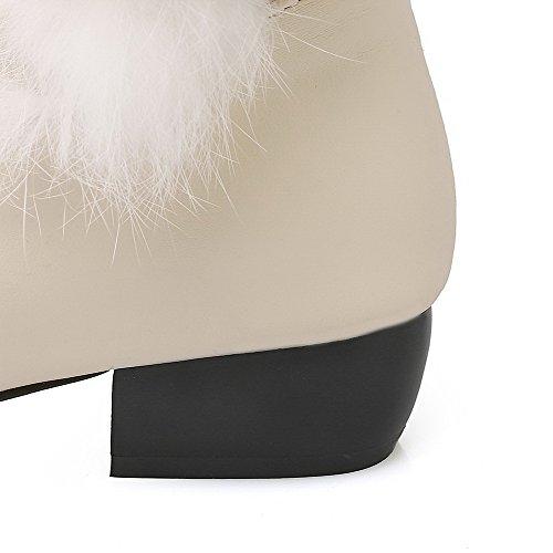 VogueZone009 Damen Blend-Materialien Ziehen Auf Niedriger Absatz Hoch-Spitze Stiefel Cremefarben