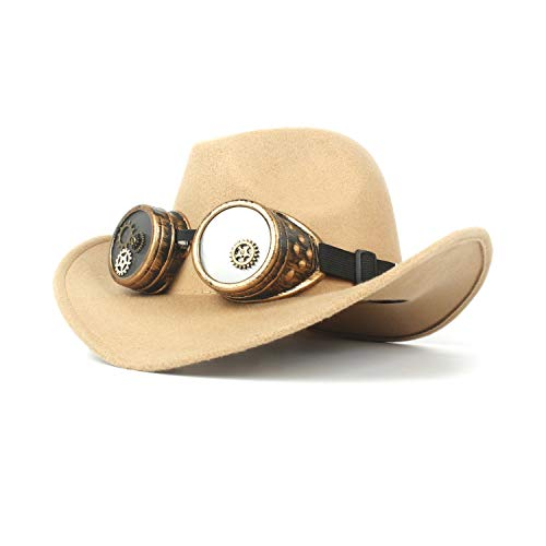 HÖHERE MÄNNER Männer Frauen Wollfilz Cowboyhut Einfarbig Retro Steampunk Gear Brille Western Cowboyhut Halloween Kleid (Farbe : Beige, Größe : 56-59cm)