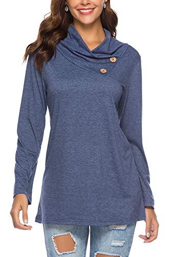 Damen Oberteile Lange Ärmel Sweatshirt Pulli Pullover Rollkragen Tshirt Top mit Tasten Hellblau M