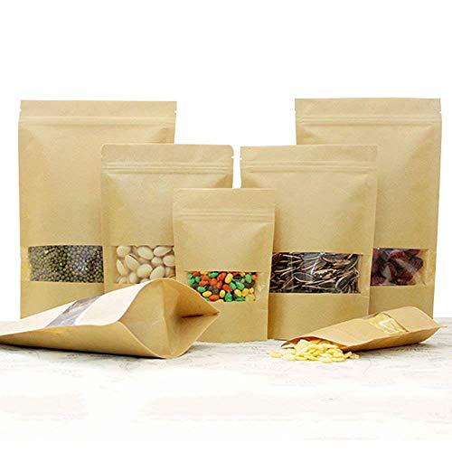 100Stk pequeñas bolsas papel marrón ventana, papel