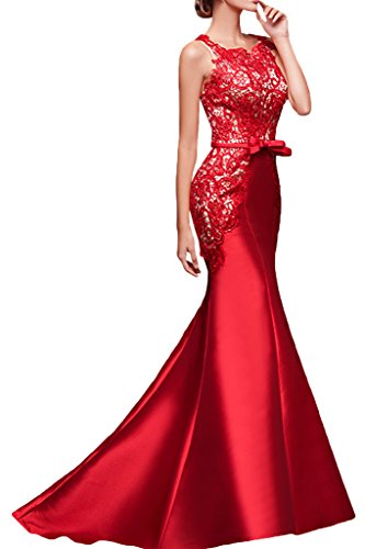 Donna alla moda Ivydressing punta, & satin Mermaid party dell'abito ball dell'abito da sera Rosso