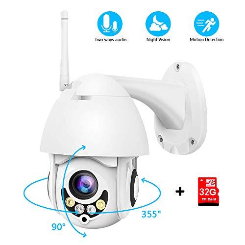 Camara WiFi Exterior, PTZ Camara Vigilancia Impermeable IP66 con Audio de Dos Vías, Visión Nocturna, Detección de Movimiento, Notificación de Alarma (Incluye TF 32G)