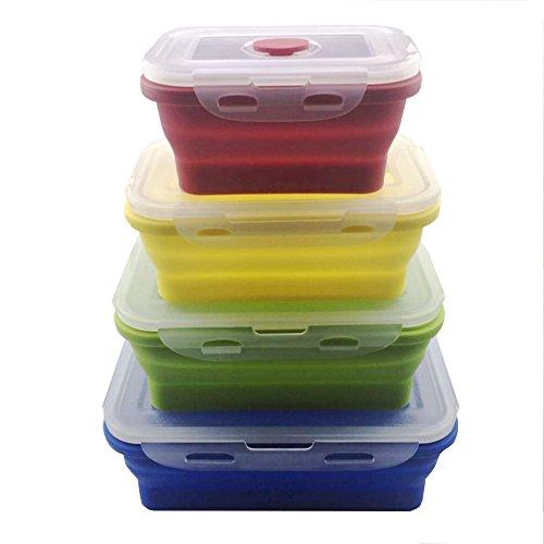 Swity Home Set von 4faltbar Silikon Essensbehältern, Kunststoff Deckel Silikon Napf, Vorratsdose Set, Verwendung für Futter und Aufbewahrung, Küche Food Saver Container (Kanister-sets Gelb Küche)