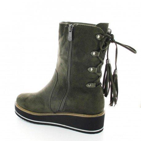 Ideal Shoes - Bottines compensées effet daim avec lacets à l'arrière Kateline Vert