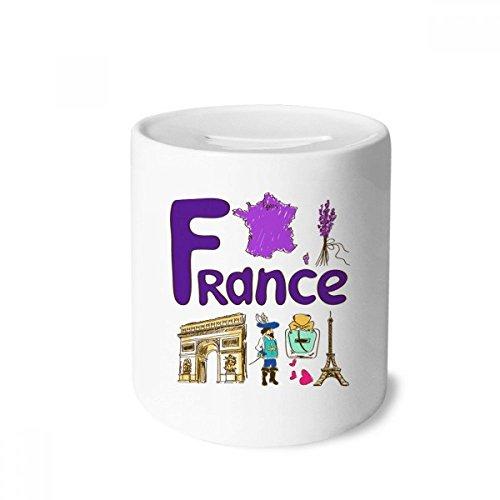 DIYthinker Frankreich nationalen Symbol Zeichen-Muster-Geld-Kasten Sparkassen Keramik Münzfach Kinder Erwachsene 3.5 Zoll in Height, 3.1 Zoll in Duruchmesser Mehrfarbig