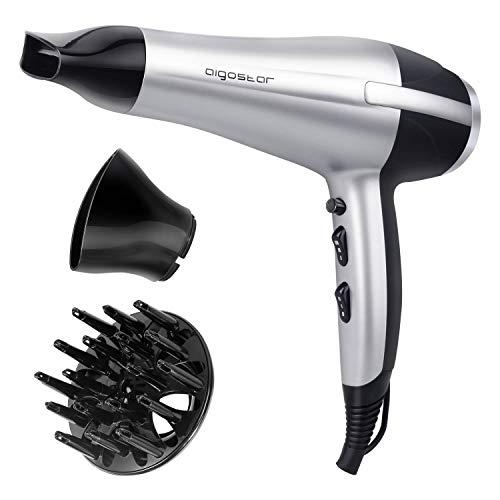 Aigostar Daphne 32GPO - Secador profesional de pelo en color plateado y negro con difusor y accesorios. 2200 watios. Diseño exclusivo de Aigostar