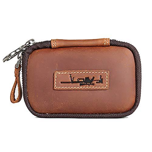 Key case uomo e donna fibbia a catena chiave borsa multifunzionale in pelle per auto in pelle (colore : cachi, dimensioni : 13.7 * 8.3 * 1.5cm)