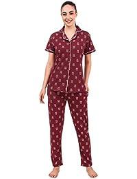 Masha Women's Cotton Printed Night Suit Set