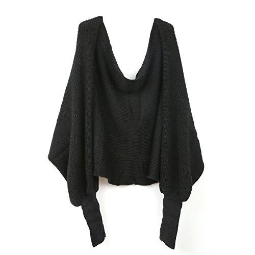 LEORX Donne sciarpa scialle mantella con maniche lavorata a maglia (nero)