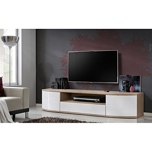 Meuble TV - Blanc et acacia - 190 x 43 x 48 cm