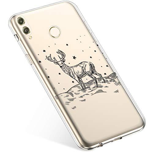 Uposao Handyhülle Weihnachten Huawei Honor 8X TPU Silikon Schutzhülle Weich Transparent Kristall Klar Dünn Handyhülle Backcover TPU Bumper Case Handytasche,Schwarz Hirsch