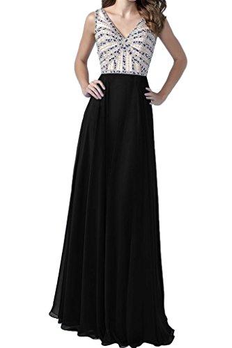 ivyd ressing robe simple V de Robe Mousseline de la découpe longue Party Prom robe Lave-vaisselle robe robe du soir Schwarz