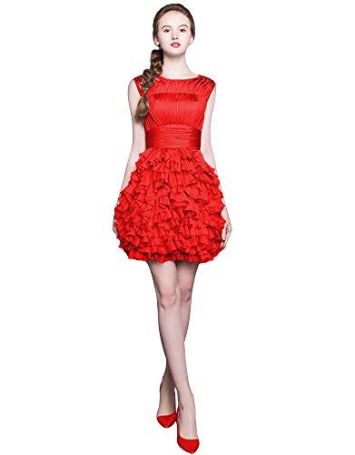 Beauty-Emily Raso pieghe Hem maniche a strati il ??mini vestito da cocktail Rosso