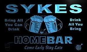 p1839-b Sykes Home Bar Beer Family Last Name Neon Light Sign
