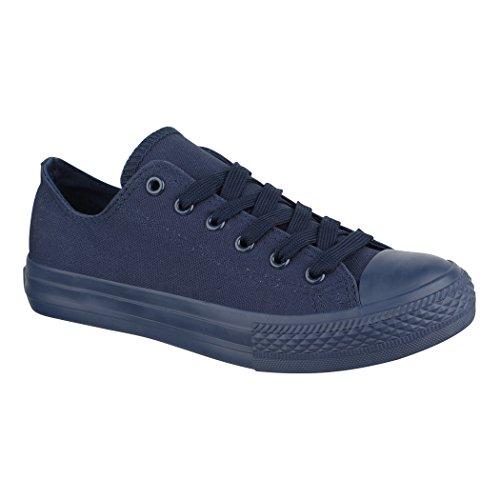 Elara Unisex Sneaker   Bequeme Sportschuhe für Herren und Damen   Low Top Turnschuh Textil Schuhe 36-46 ZY9032-DkBlue-37