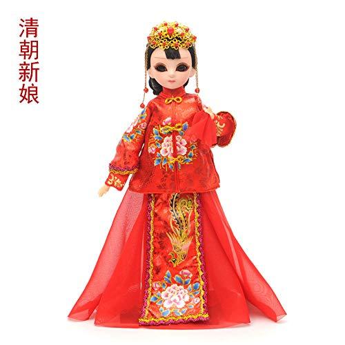 QAZWSX Chinesische Kostüm Hochzeit Puppe Ornamente, Freunde Freundinnen Neue Hochzeitsgeschenke im chinesischen Stil Neue Haus Dekoration Ornamente zu senden@Qing - Freund Freundin Kostüm