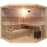 Desineo Cabine complète de Sauna d'angle Lutèce Full Options Luxe 200x200x210 cm