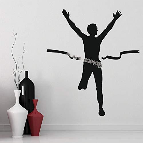 zqyjhkou Marathon Läufer Wandaufkleber Leichtathletik Ziellinie Laufen Sport Kunst Teens Room Wall Decor Vinyl Aufkleber Vinilos Paredes Eb326 80x93cm