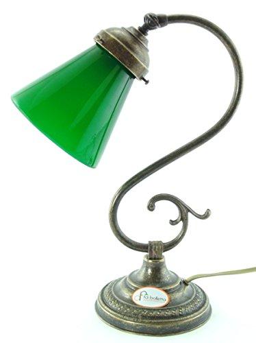 Studierlampe aus brüniertem Messing mit ministeriellem Glas für Tische,S32 Beleuchtung Lampen Maße:H 32cm,Glas Ø 11cm,Ø Sockel 13cm.Die Maßnahmen sind mit Glas -