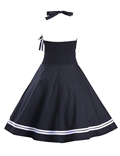 VKStar® Damen Retro 50er Neckholder Swing Rockabilly Abend-Partykleid Taille elastische Cocktailkleid Schwarz