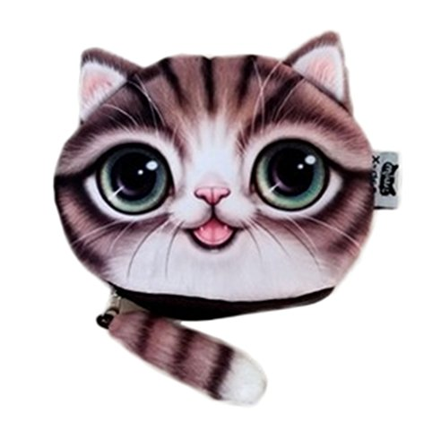 Bigood Sac à Main Minnie Peluche Porte-monnaie Chat avec Queue 15*12cm