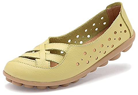 Fangsto Women's Leather Loafers Flats Sandals Slip-Ons UK Size 5 Celery