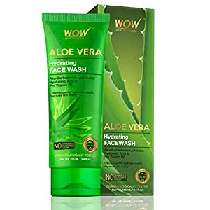 WOW Skin Science Aloe Vera With Hyaluronic Acid and Pro Vitamin B5 Hydrating Gentle Face Wash - No Parabens, Silicones & Color (100mL)