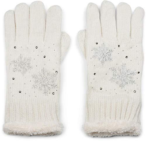 styleBREAKER Damen Handschuhe mit gestickten Schneeflocken, Strass und Fleece, Winter Strickhandschuhe 09010020, Farbe:Creme