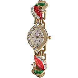 Gypsy Club Analogue White-Gold Dial Watch for Women and Girls - GC-45
