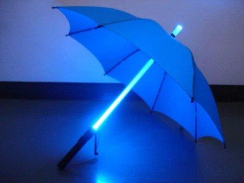 ZHUDJ Besonders Kreative Führte, Leuchtende Dach, Transparenten Regenschirm, Licht, Schirm, Lange Mit Persönlichen Regenschirm, Geschenk - Schirm, Taschenlampe,Blau - Weißes Licht (Weiße Dach-lichter)