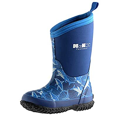 MCIKCC Kids Rubber Rain Boots Waterproof Solid Classic Pull On Snow Wellies Boot for Children Toddler Boys Girls