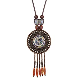 Yazilind las mujeres retras granos de cerámica india Declaración de Boho de la borla colgante étnico collar de regalos de la joyería