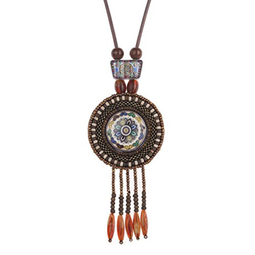 yazilind-women-retro-indian-ethnic-boho-statement-ceramic-brown-beads-tassel-pendant-jewelry-necklac
