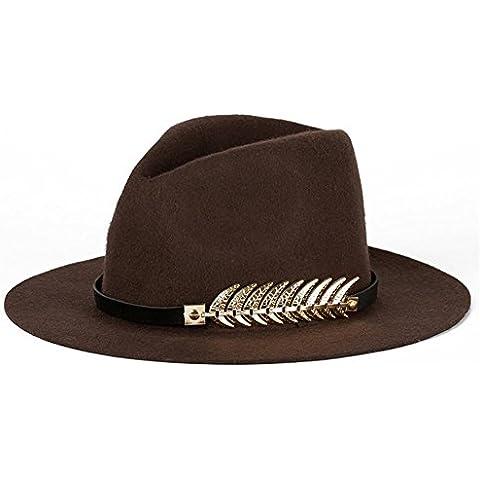 WW Cappello moda cappelli di feltro di lana signore signore , coffee