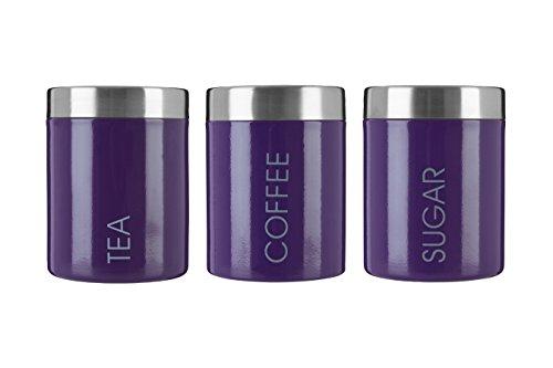Premier Housewares Liberty Tea, Coffee and Sugar Canisters - Set of 3, Purple