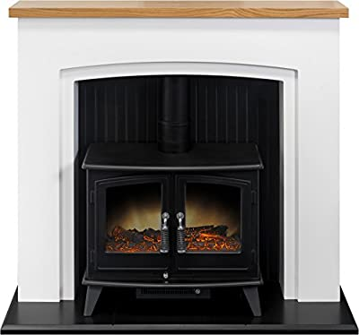 Adam Siena Stove Suite in Pure White with Woodhouse Electric Stove in Black, 48 Inch
