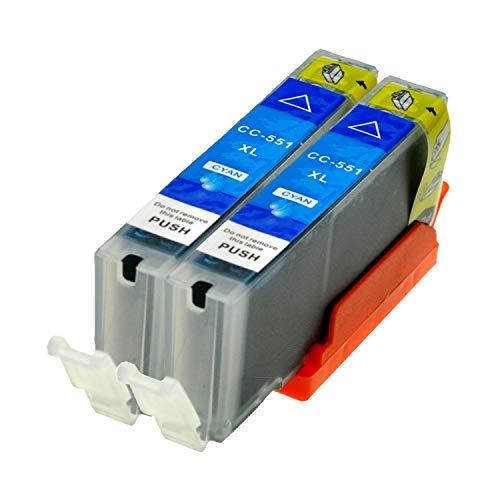 2 Logic-Seek® Druckerpatronen CLI551C MIT CHIP und Füllstandanzeige für Canon Pixma iP7250, MG5450, MG6350, MX725, MX925, kompatibel zu CLI-551C