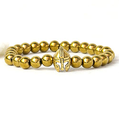QIANJY Herren Armband Natürliche Hämatit Steine   Ritter Helm Armband Römischer Krieger 8 Mm Perlen Männer Armband Frauen