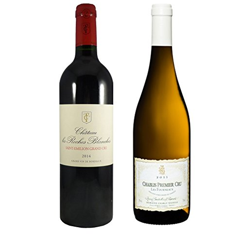 Coffret 2 Grands Vins Bordeaux Bourgogne Saint-Emilion Grand Cru Château Roches Blanches 2014 et Chablis 1er Cru Charly Nicolle Fourneaux 2016