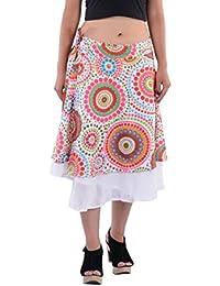 Indi Bargain Cotton Printed Double Layered Medium Length Wrap Around Skirt
