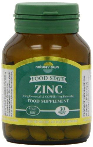 15 mg de zinc Natures Own cuivre / 30 Comprimés