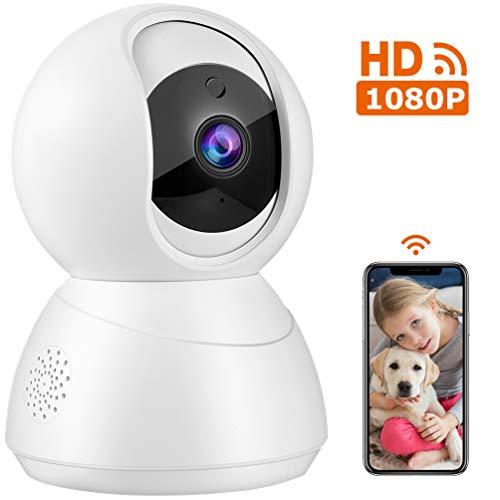 IP Kamera HD 1080p WLAN Überwachungskamera IP-Kamera Schwenkbar mit Bewegungserkennung, Nachtsich und 2 Wege Audio, Unterstützung Android IOS für Baby Haustier Überwachung Weiß