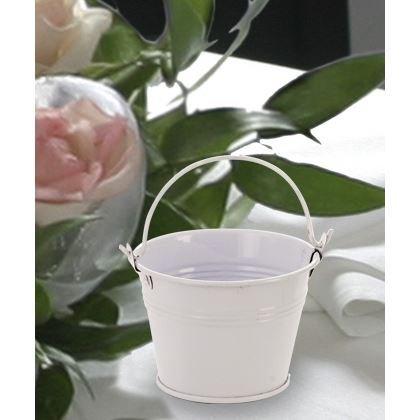 6 X Mini Metal White Pail/Bucket Party Bag Filler & Wedding Favours Gifts