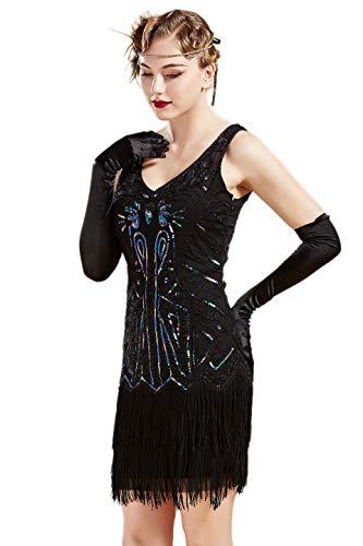 BABEYOND Damen Kleid Retro 1920er Stil Flapper Kleider mit Zwei Schichten Troddel V Ausschnitt Great Gatsby Motto Party Kleider Damen Kostüm Kleid (Schwarz Bunt, XXXL) (Motto-kleider 20er Jahre)