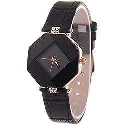 Kezzi Ladies Fashion Hexagon Case Rhombus Dial Quartz Watch with Rhinestone Decorative Leather Strap Black