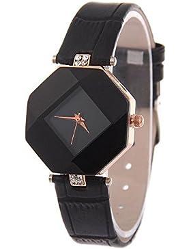 Kezzi Quarz-Armbanduhr für Damen, elegant, Sechseck-Gehäuse, Rhombus-Zifferblatt, mit Strass zur Dekoration, Leder-Armband...